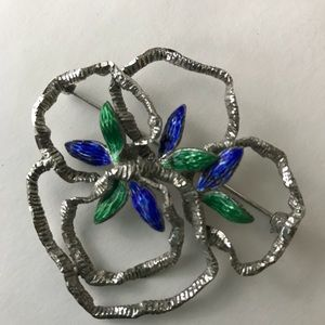 Unique 925 silver floral vine brooch